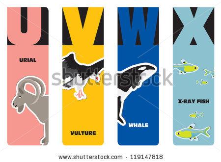 bookmarks animal alphabet u urial v stock vector 119147818.html