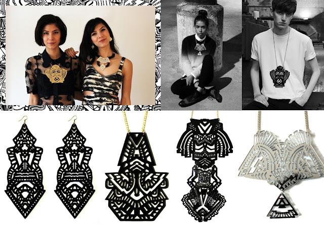 art deco, jewellery, monchrome, statement jewellery