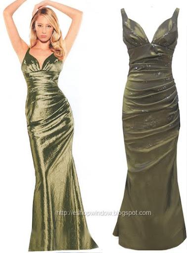 тютюнево зелена дълга рокля