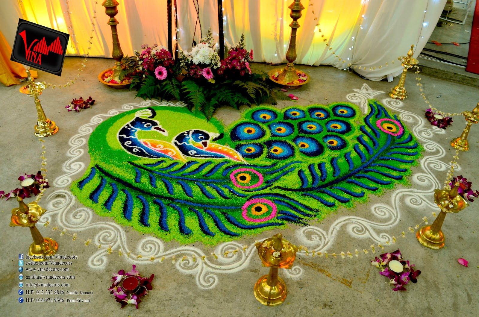 Vina canopy decor 2015 peacock rangoli kolam at dewan jalan kepong by vina canopy decor junglespirit Choice Image