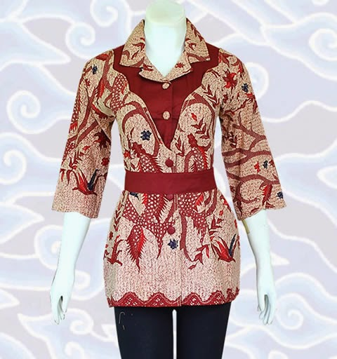 Model Baju Batik Blus Wanita Smart Casual Blouse