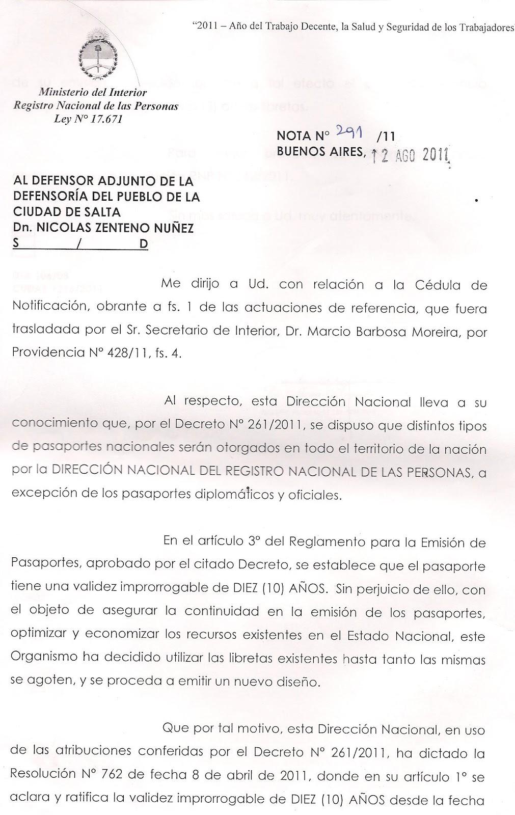 ministerio del interior reconoce el error en la duracion