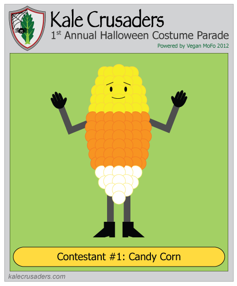 Contestant #1: Candy Corn, Kale Crusaders 1st Annual Halloween Costume Parade, Powered by Vegan MoFo 2012