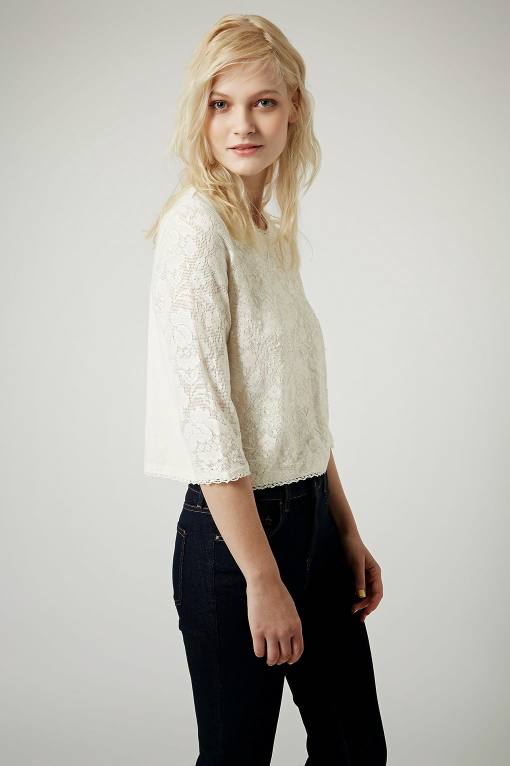 cream lace bead top