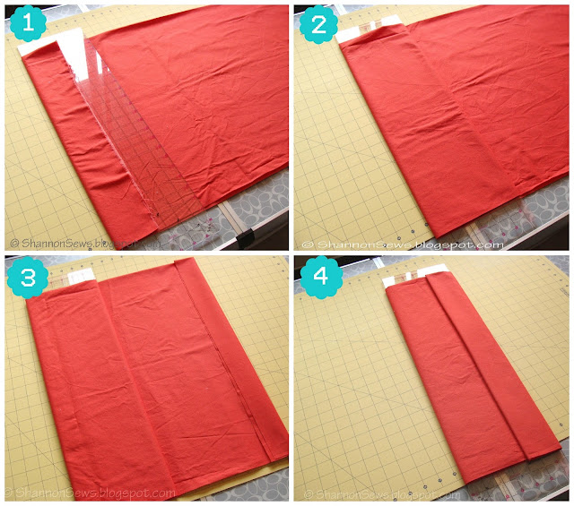 how to fold fabric neatly using a plastic sewing ruler