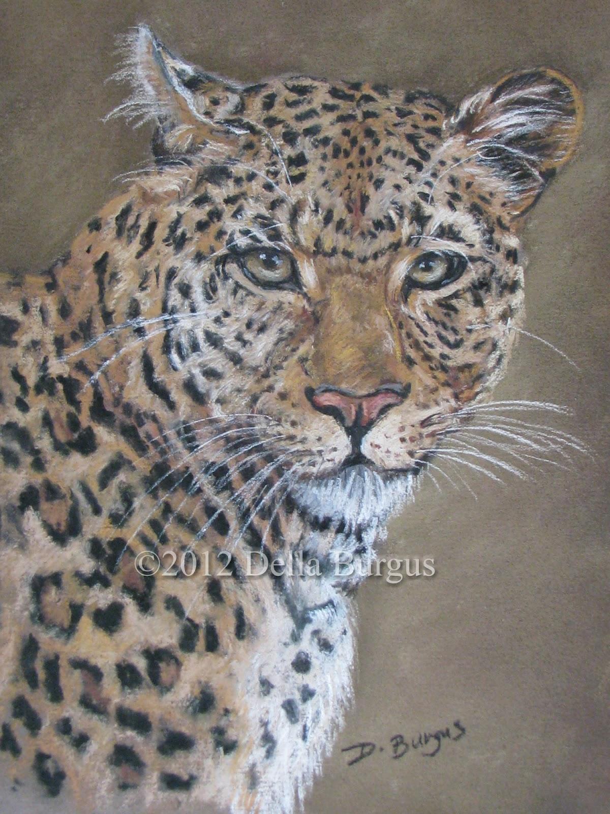 Art Helping Animals Leopard Wildlife Art Pastel By Della