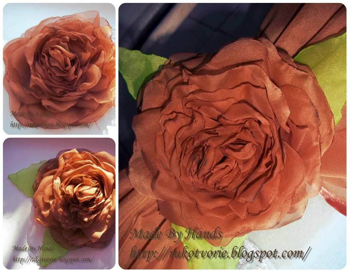 Розы из шифона своими руками мастер класс 26