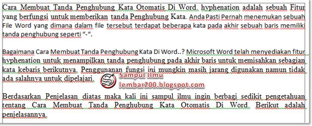 Cara Membuat Tanda Penghubung Kata Otomatis Di Word