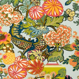 Schumacher Chiang Mai Dragon Fabric in Aquamarine