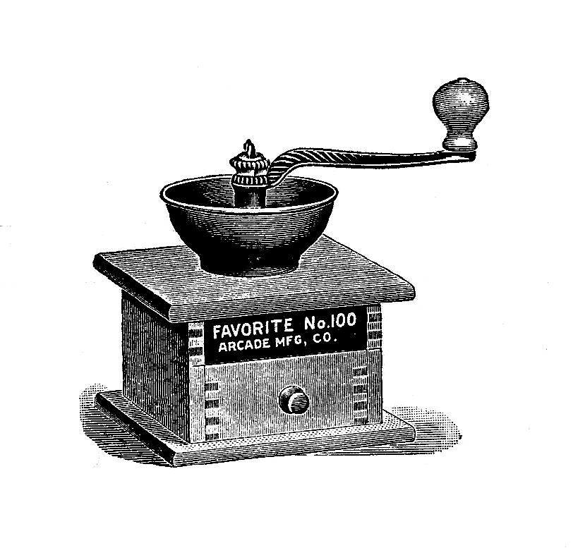 Coffee Grinder Clip Art ~ Digital stamp design free coffee mill