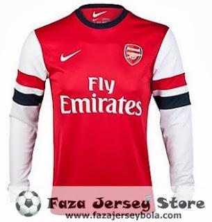 Jersey Arsenal longsleeve 13-14 grade ori, baju bola, baju bola arsenal grade ori, arsenal