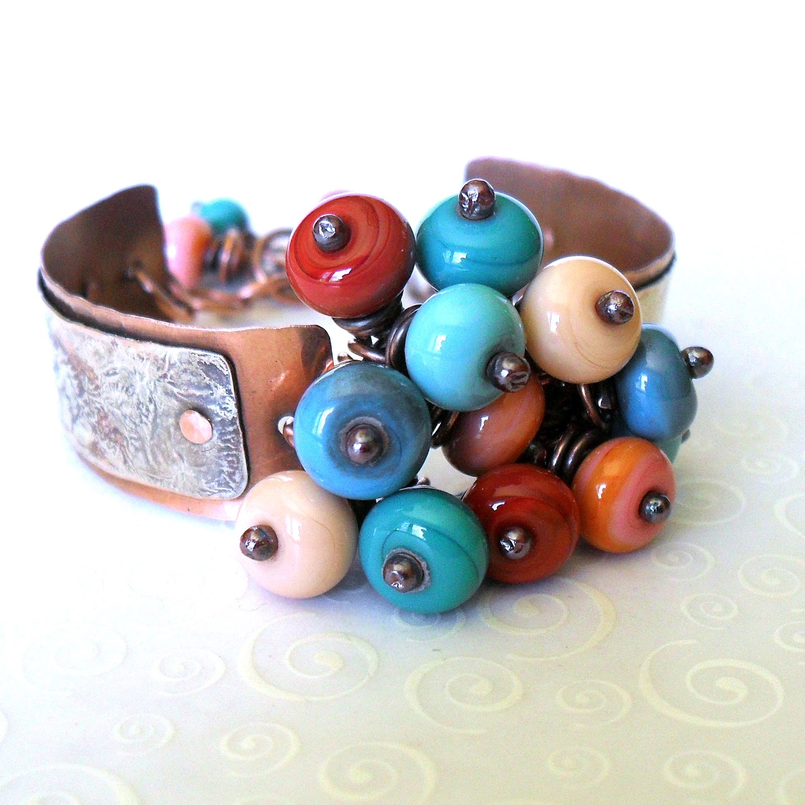copper glass and recycled trash northern michigan bead