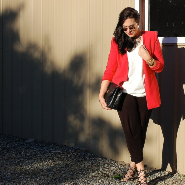 Red BCBGmaxazria blazer, H&M harem pants, Chanel ITB bag, T.Babaton tank top and Prabal Gurung for Target cage heels.