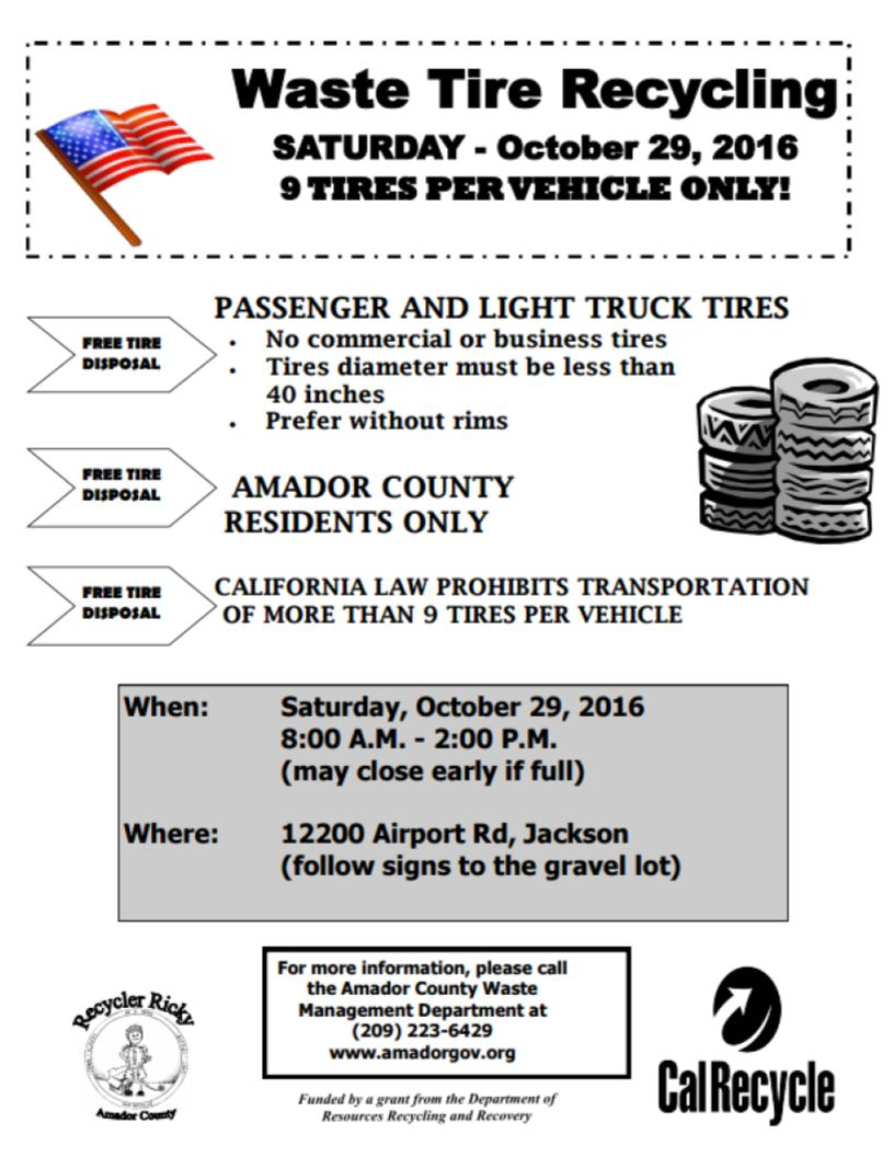 Waste Tire Recycling - Sat Oct 29