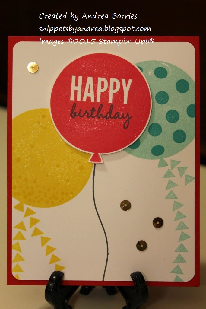 Birthday card featuring large red, yellow and blue balloons made with Celebrate Today stamp set.