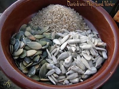 Semillas de sesamo, calabaza y girasol