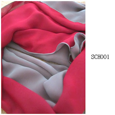 shawl chiffon 2 layer merah dark grey