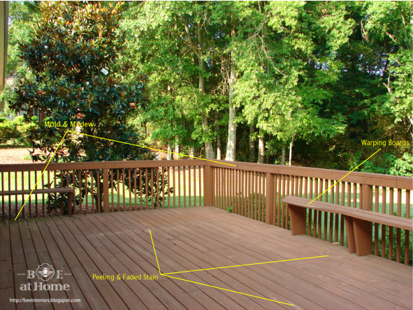 This was our already rough looking deck when we bought the house ...