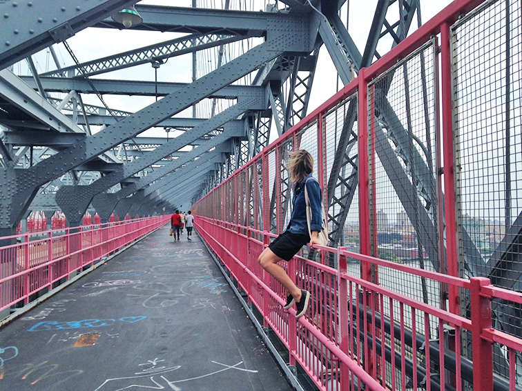 Wind in my hair, Williamsburg Bridge, Brooklyn, New York, freedom, fashion over reason