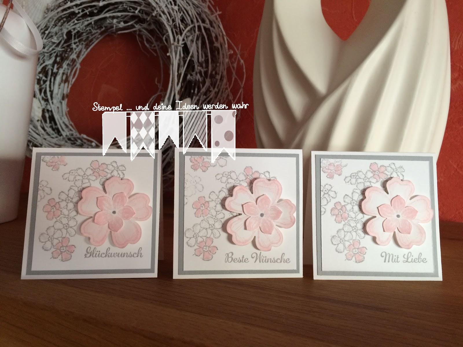 Blumen in grau und rosa ~ stempel...und deine ideen werden wahr...