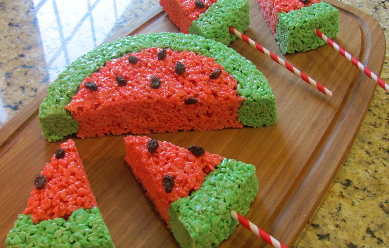 Sprinkle Some Sunshine Watermelon Rice Krispies Treats