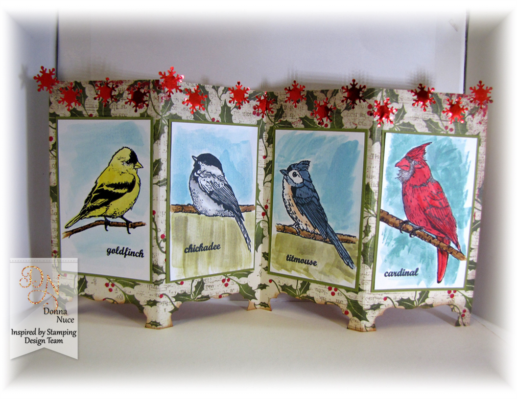 Inspired by Stamping, Crafty Colonel Donna Nuce, Winter Birds Stamp Set, Screen Divider