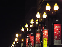 Holiday banners on street light poles