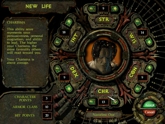 Planescape Torment character creation
