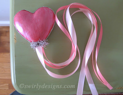 Glue The Silver Dresden Trim Around Edges Of Heart Where Two Colors Meet Then A Piece Tinsel Base Covering End Your