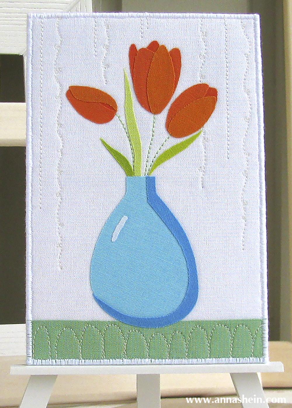 """Лоскутная открытка """"8 марта. Тюльпаны."""" 2014 г. Шеин Анна"""