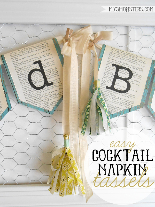 DIY Tassels made from Cocktail Napkins & Our Family Motto Bunting  at my3monsters.com