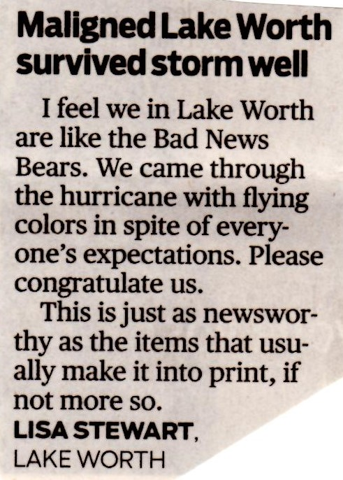 "Tired of City being ""ma- ligned"" in Palm Beach Post? Don't get mad:"