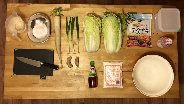 Ingredients for making mat kimchi at home