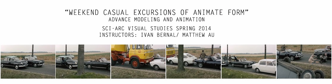 "SCIARC'S VISUAL STUDIES , SPRING 2014 ""WEEKEND: casual excursions of animate form"""
