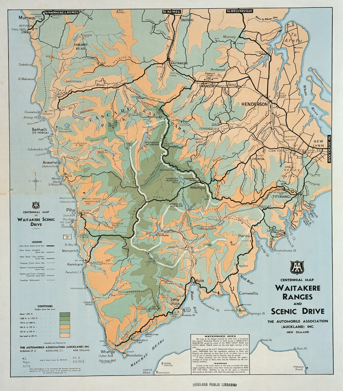 ref centennial map of waitakere ranges and scenic drive 1945 nz map 2070 sir george grey special collections auckland libraries