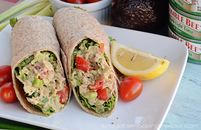 Avocado and Tuna Salad Wrap | Easy meal with less fat than traditional ...