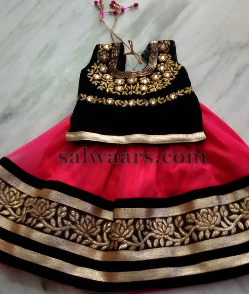 Red and Black Huge Work lehenga