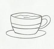 Desenho de xícara de café para pintar