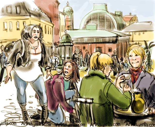 Market Hall, Gothenburg. Urban sketch by illustrator Artmagenta
