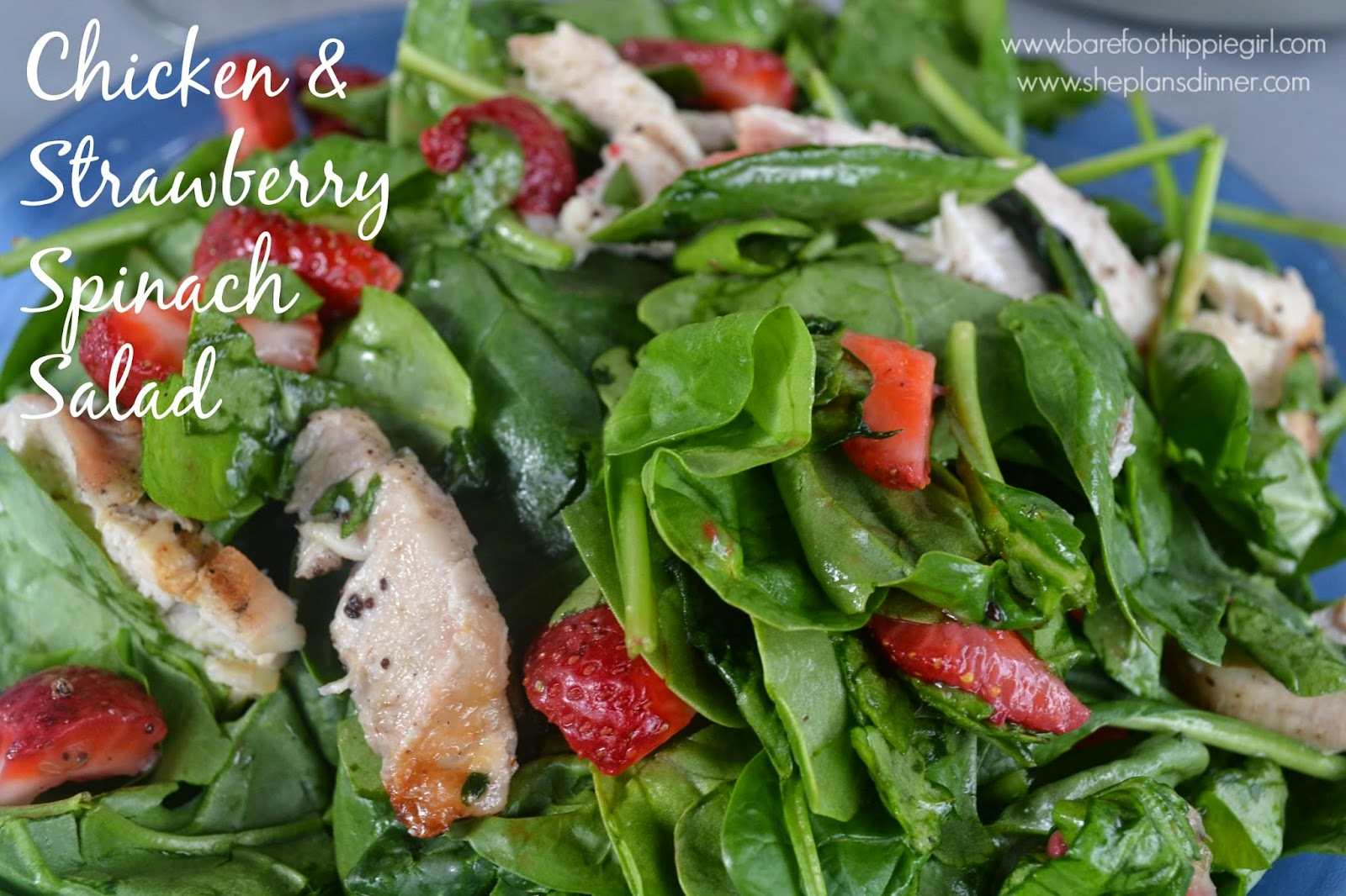 Barefoot Hippie Girl: Chicken & Strawberry Spinach Salad
