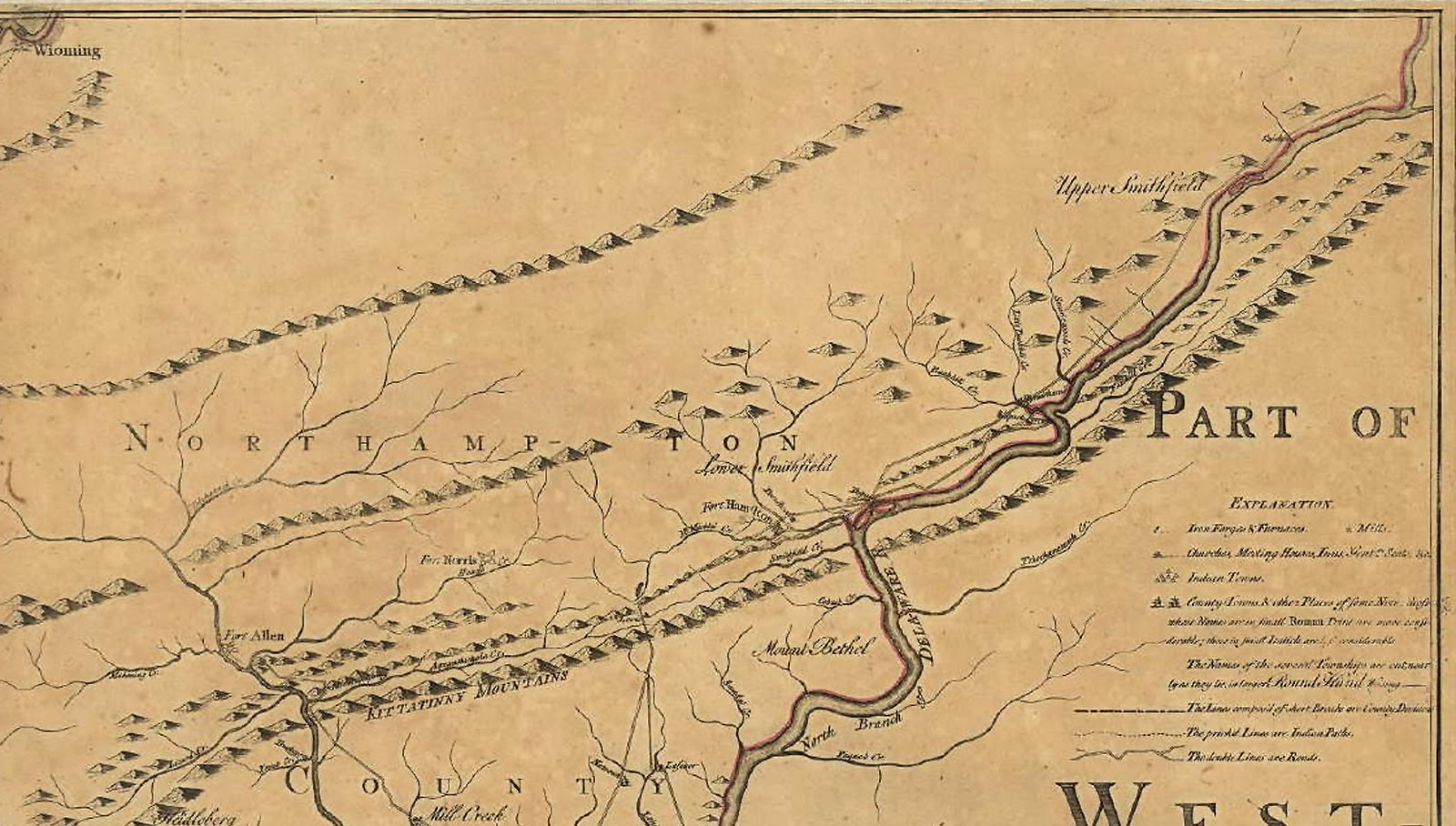 1759 map by nicholas scull depicts upper lower smithfield local fort hamilton the river road the walpack ferry crossing the site of hyndshaw s mill