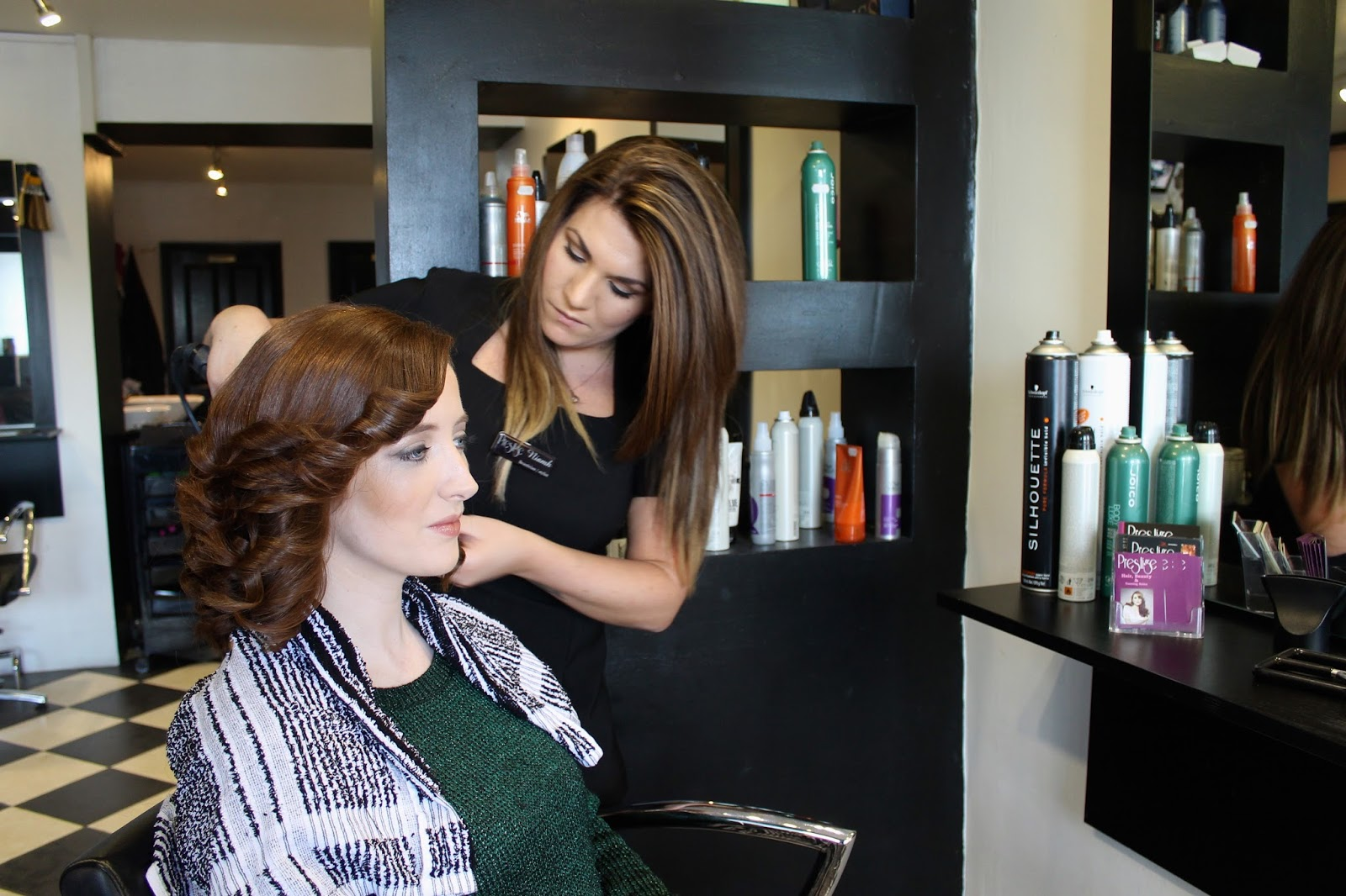 Bec Boop getting her hair curled in Prestige Salon Galway