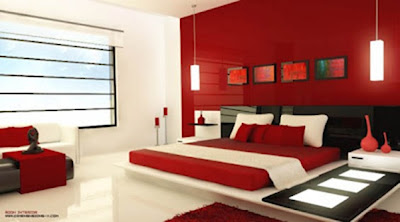 dormitorio matrimonial color rojo