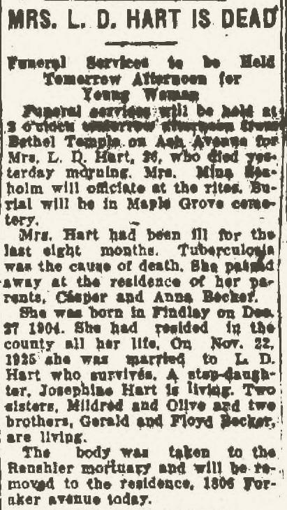 Climbing My Family Tree: Edith Matilda Becker Hart, Obituary, Findlay (OH) Morning Republican, 13 Feb 1931 p.2.