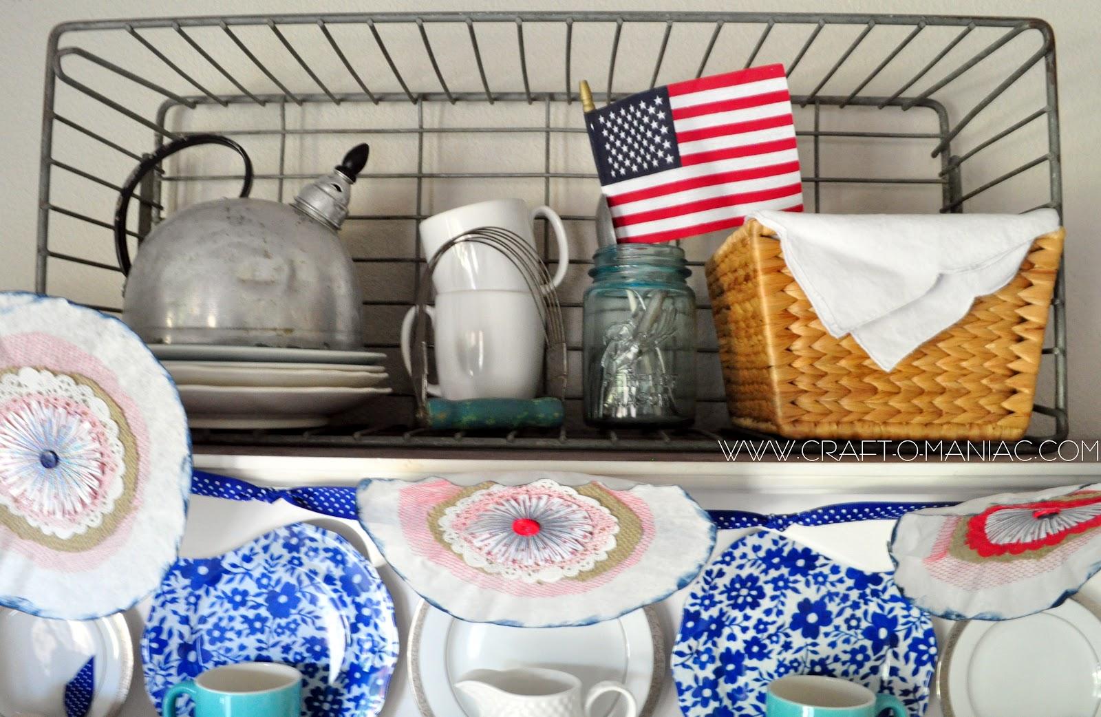 Home decor a patriotic hutch craft o maniac for Patriotic home decorations