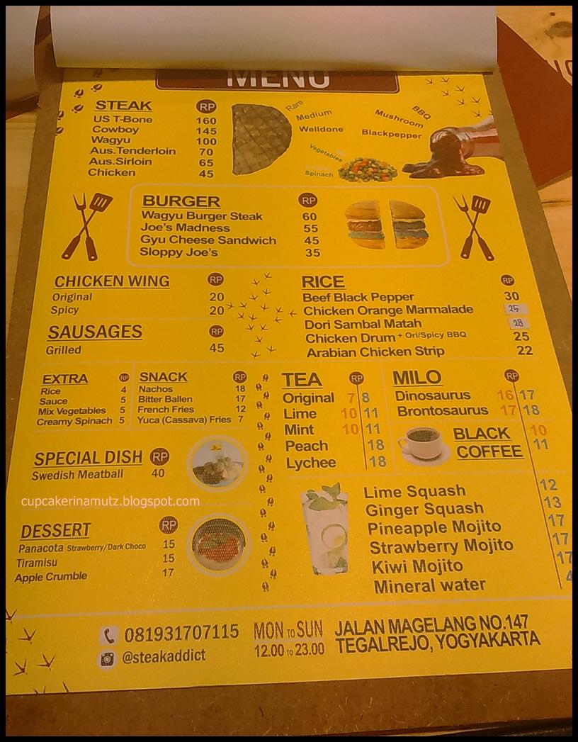 Kuliner jogja steak addict rina chabbymutz for Z kitchen jogja menu