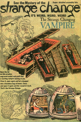 Left side of ad for Strange Change Vampire, Mummy and Time Machine
