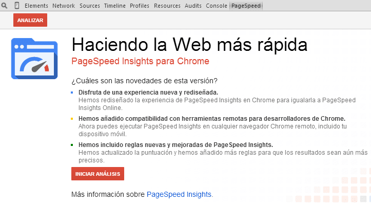 Extencion Pagespeed en Chrome