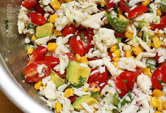Summer Tomatoes, Corn, Crab And Avocado Salad Recipe ...