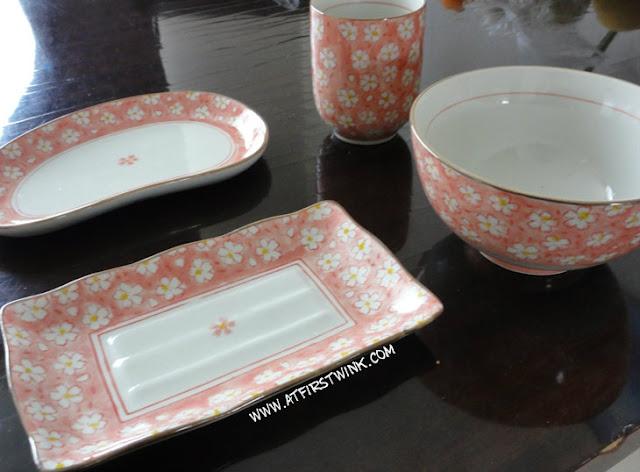 Pink sakura dish set from Jusco Hong Kong